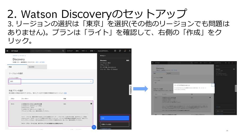 38 2. Watson Discoveryのセットアップ 3. リージョンの選択は「東京」を...
