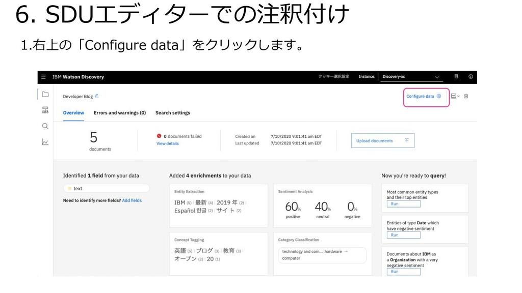6. SDUエディターでの注釈付け 1.右上の「Configure data」をクリックします。