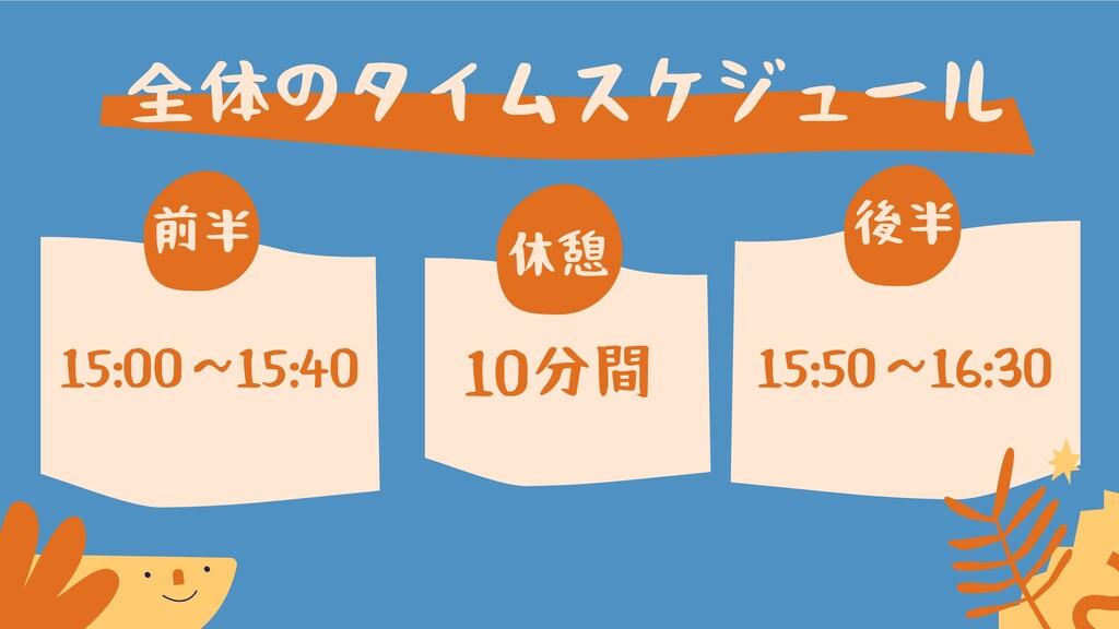全体のタイムスケジュール 後半 前半 15:00〜15:40 休憩 15:50〜16:30 1...