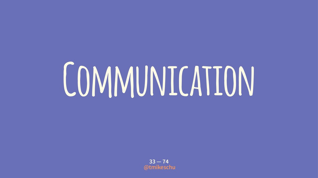 Communication 33 — 74 @tmikeschu