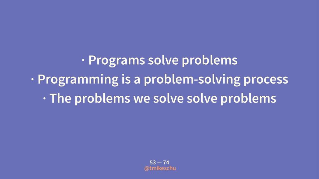 · Programs solve problems · Programming is a pr...