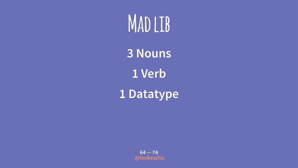 Mad lib 3 Nouns 1 Verb 1 Datatype 64 — 74 @tmik...