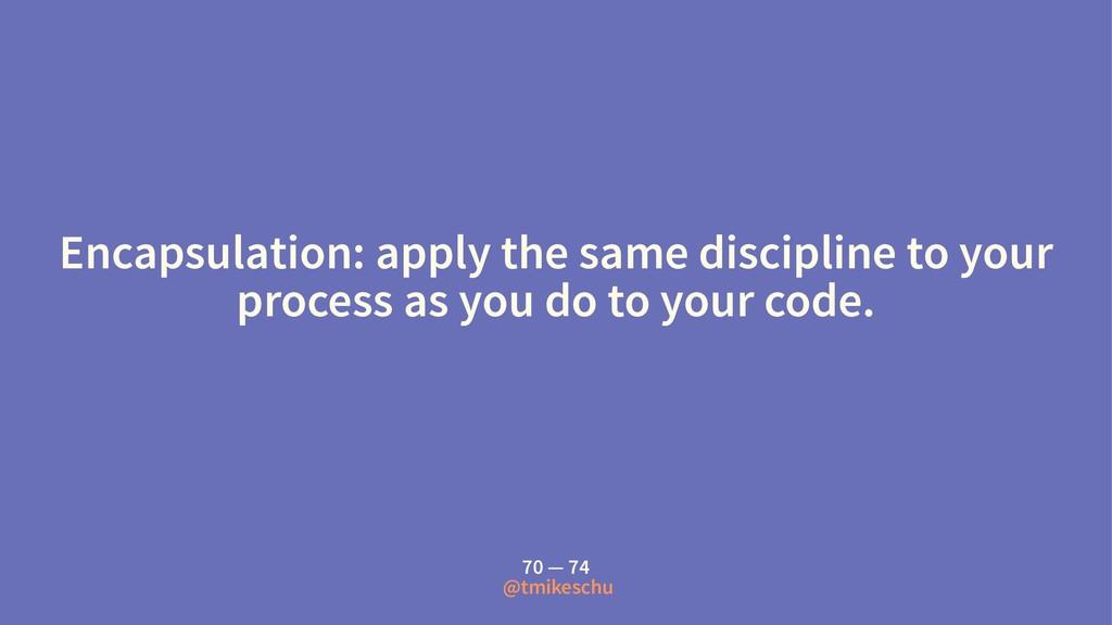 Encapsulation: apply the same discipline to you...