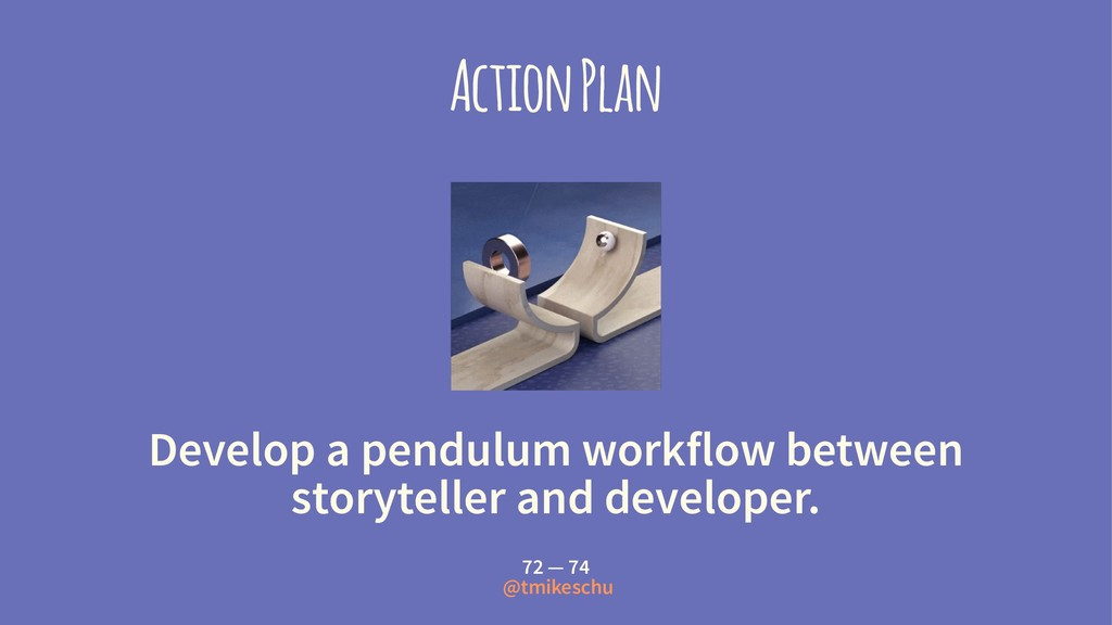 Action Plan Develop a pendulum workflow between...