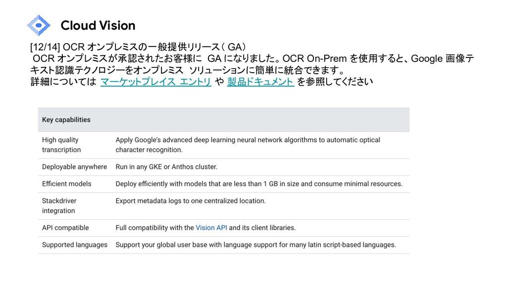 Cloud Vision [12/14] OCR オンプレミスの一般提供リリース( GA) O...