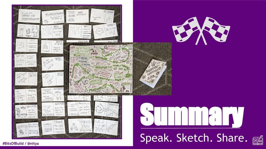 #BitsOfBuild / @nitya Summary Speak. Sketch. Sh...