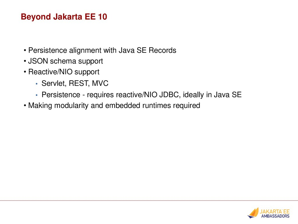 Beyond Jakarta EE 10 • Persistence alignment wi...