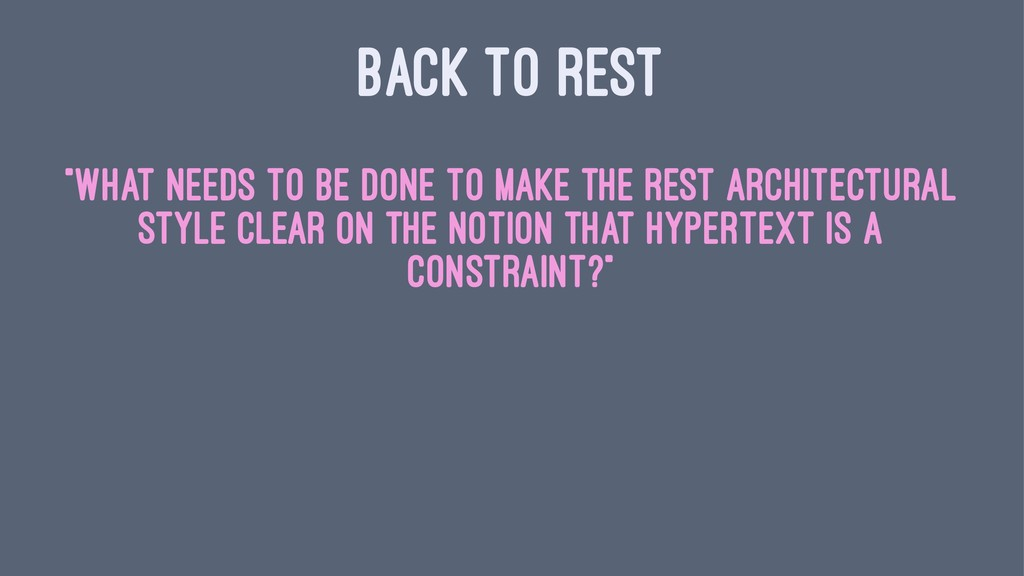 "BACK TO REST ""What needs to be done to make the..."