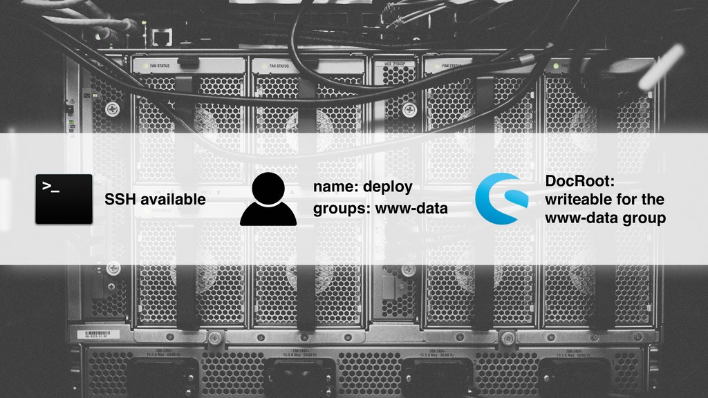 SSH available name: deploy groups: www-data Doc...