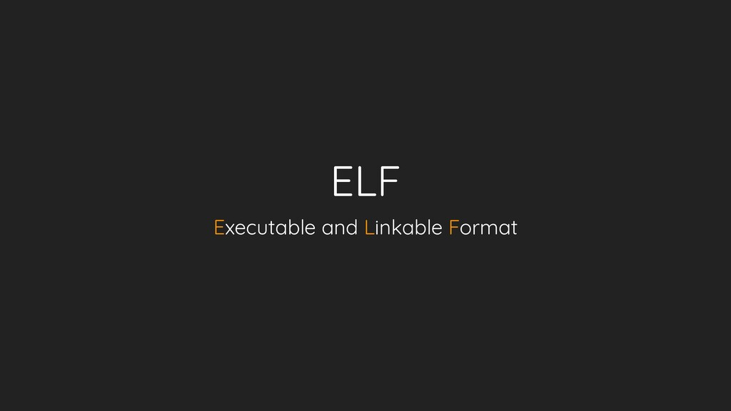 ELF Executable and Linkable Format