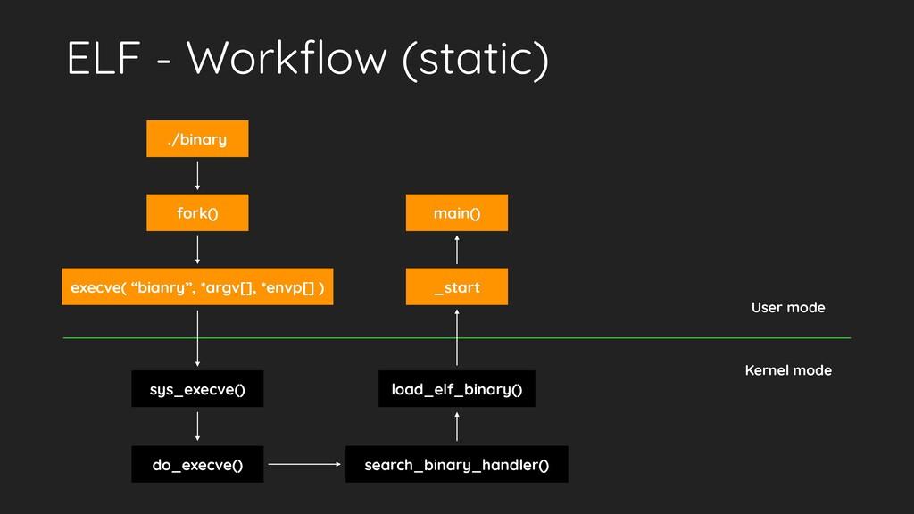 ELF - Workflow (static) ./binary fork() execve( ...