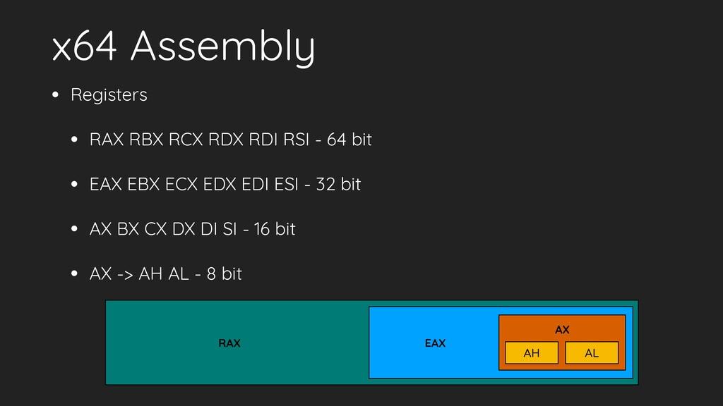 x64 Assembly • Registers • RAX RBX RCX RDX RDI ...