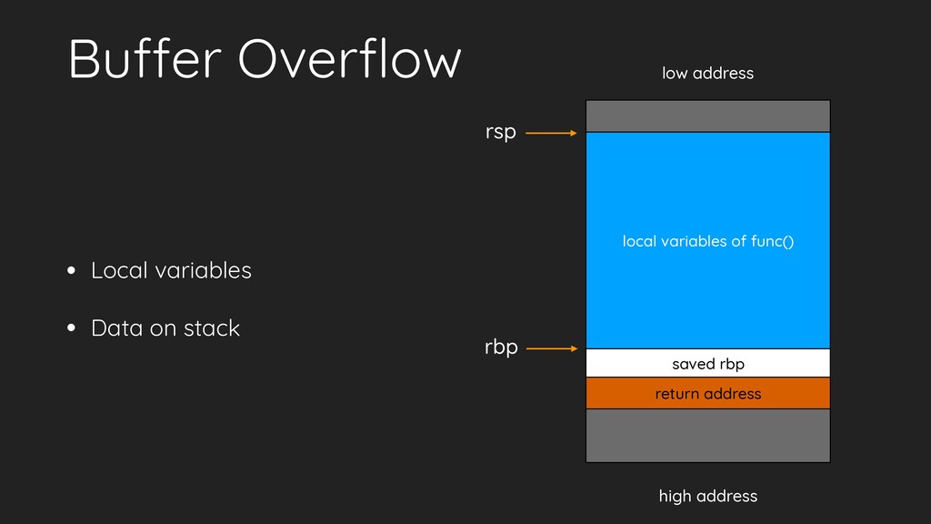 Buffer Overflow • Local variables • Data on stac...