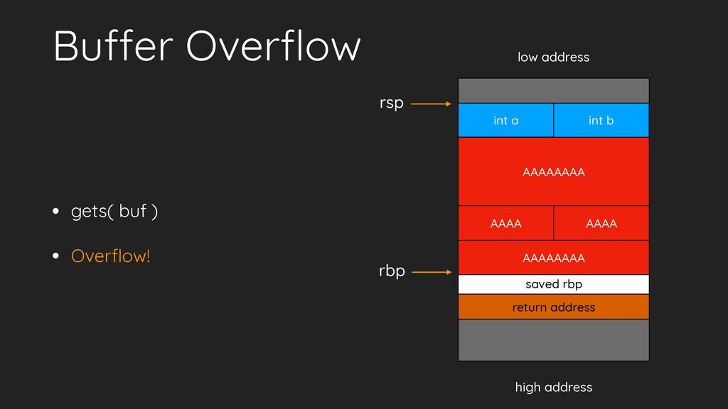 Buffer Overflow • gets( buf ) • Overflow! low add...