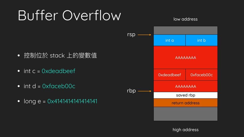 Buffer Overflow • 控制位於 stack 上的變數值 • int c = 0xd...