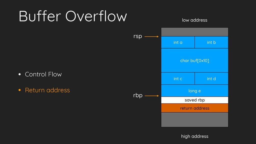 • Control Flow • Return address Buffer Overflow ...