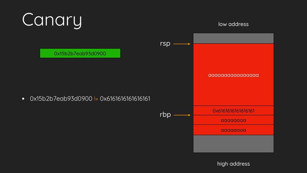 Canary • 0x15b2b7eab93d0900 != 0x61616161616161...