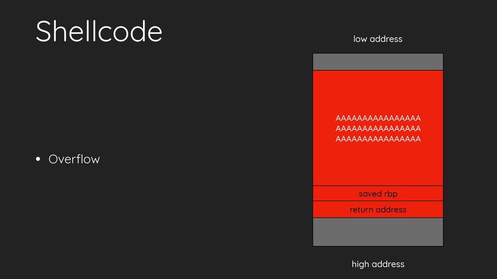 Shellcode • Overflow low address high address re...