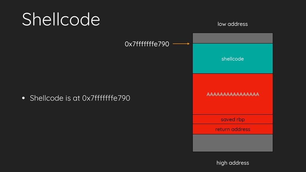 Shellcode • Shellcode is at 0x7fffffffe790 low ...