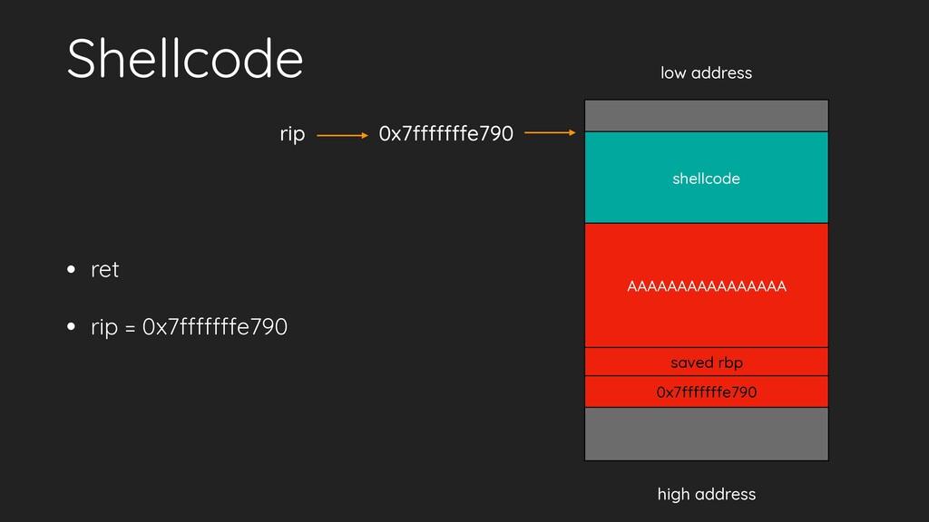 Shellcode • ret • rip = 0x7fffffffe790 low addr...