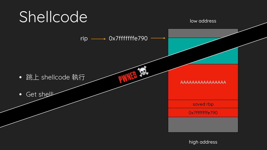 • 跳上 shellcode 執⾏行行 • Get shell! Shellcode low ...