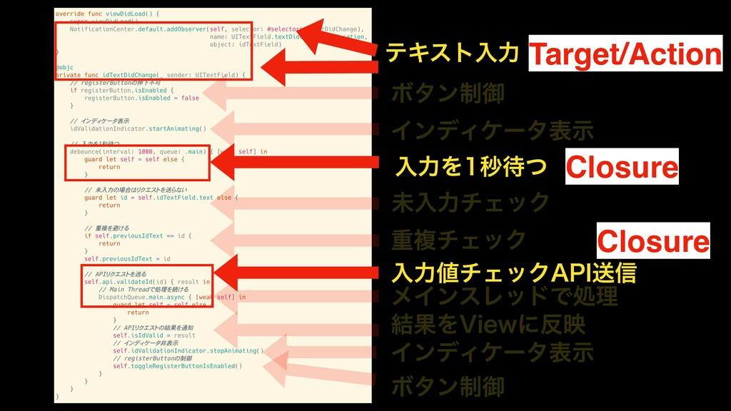 Target/Action Closure Closure ςΩετೖྗ Ϙλϯ੍ޚ ΠϯσΟ...