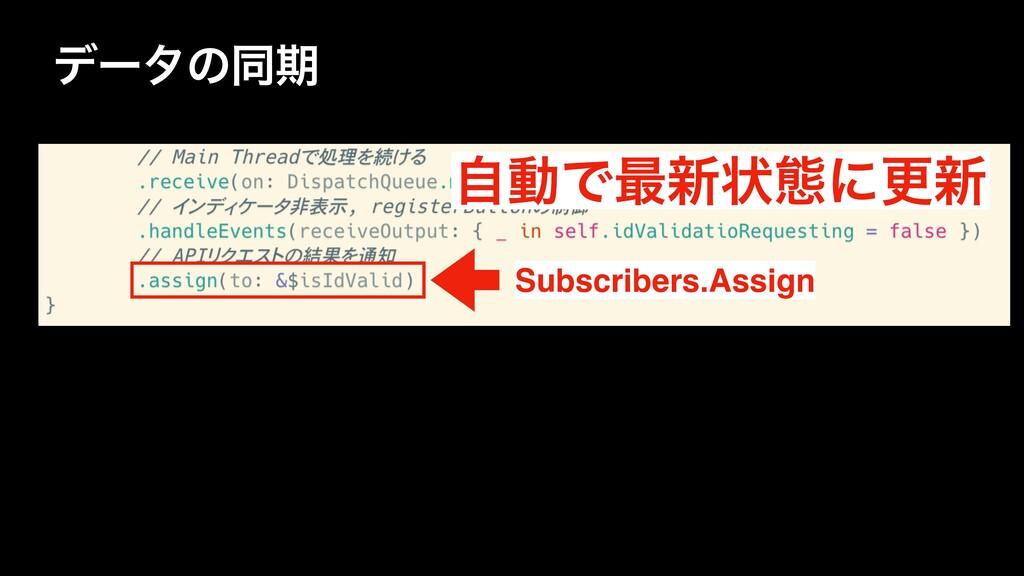 σʔλͷಉظ ࣗಈͰ࠷৽ঢ়ଶʹߋ৽ Subscribers.Assign