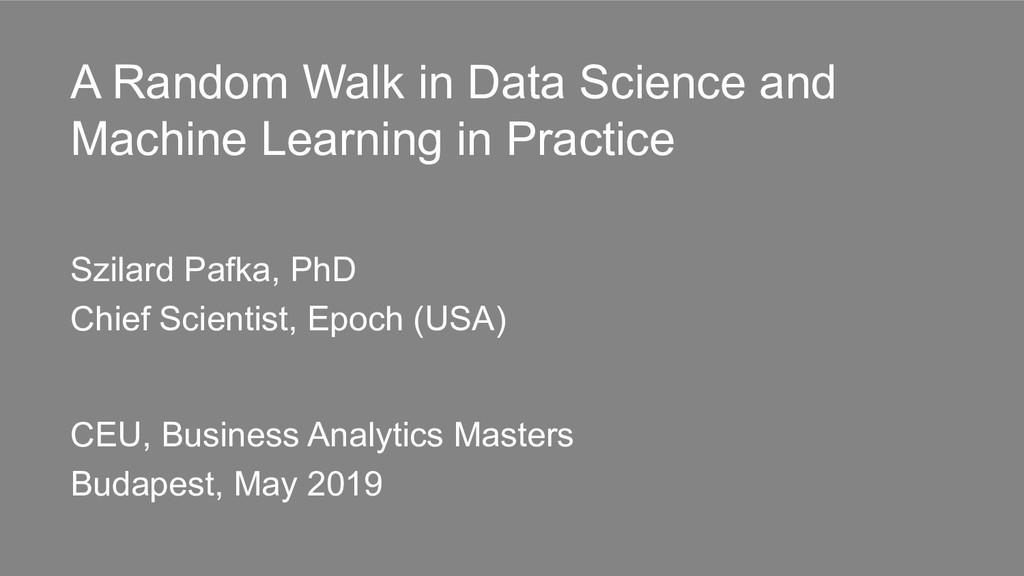 A Random Walk in Data Science and Machine Learn...