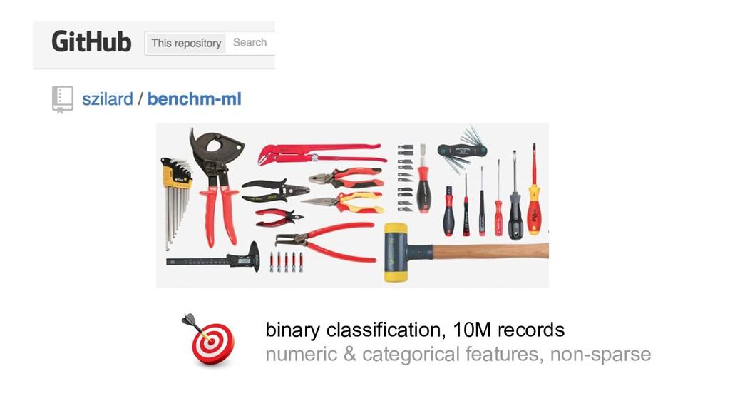 binary classification, 10M records numeric & ca...