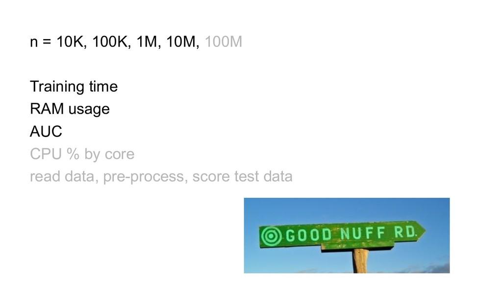 n = 10K, 100K, 1M, 10M, 100M Training time RAM ...
