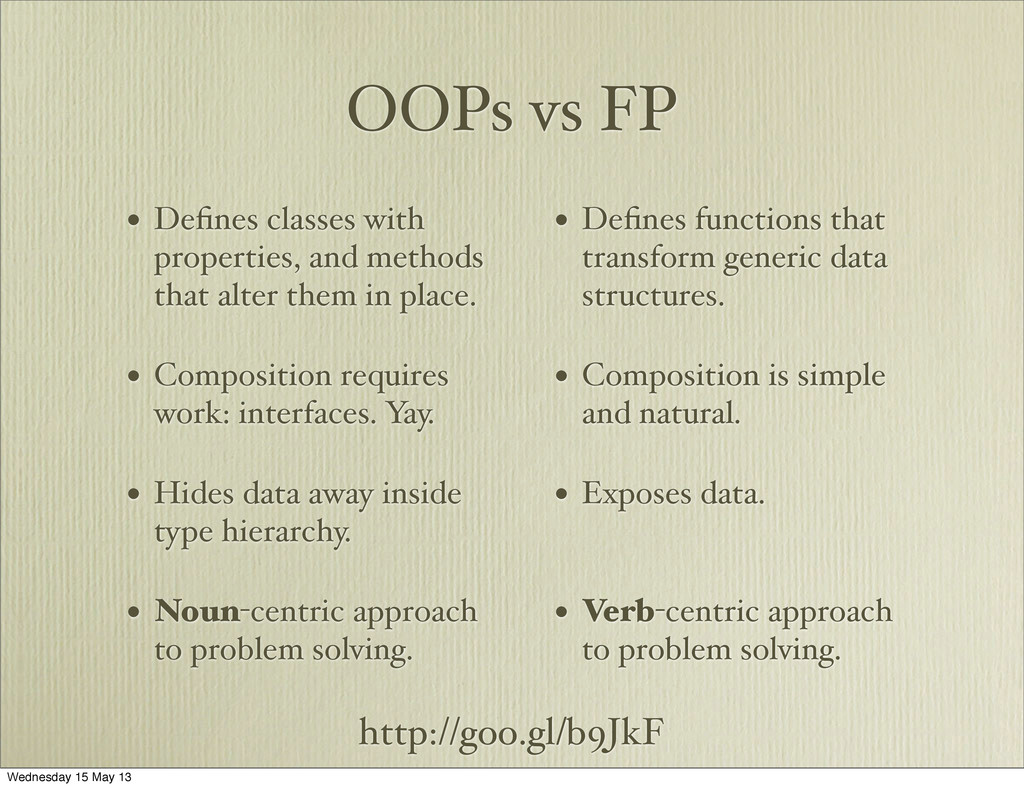 OOPs vs FP • Defines classes with properties, an...