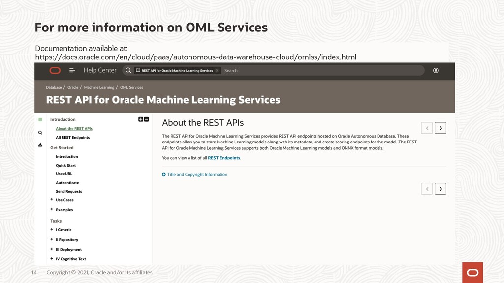 For more information on OML Services Copyright ...