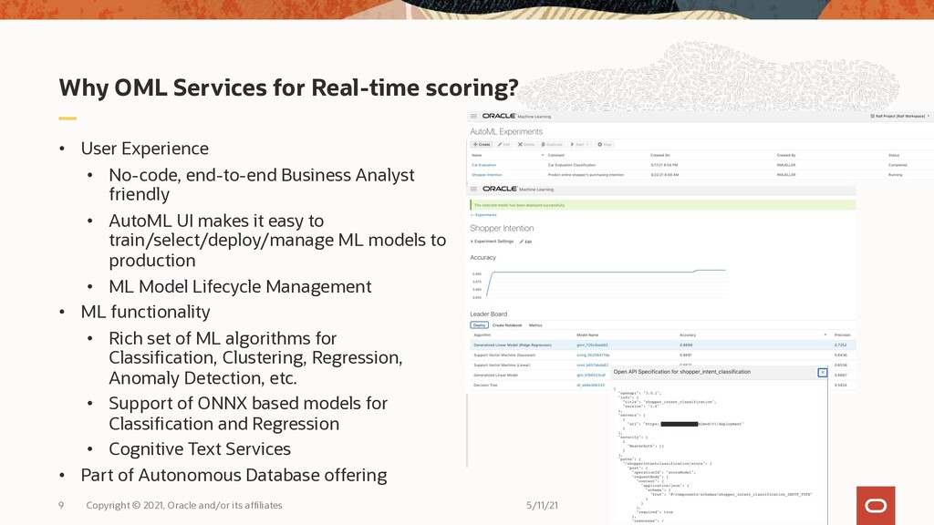 Why OML Services for Real-time scoring? • User ...