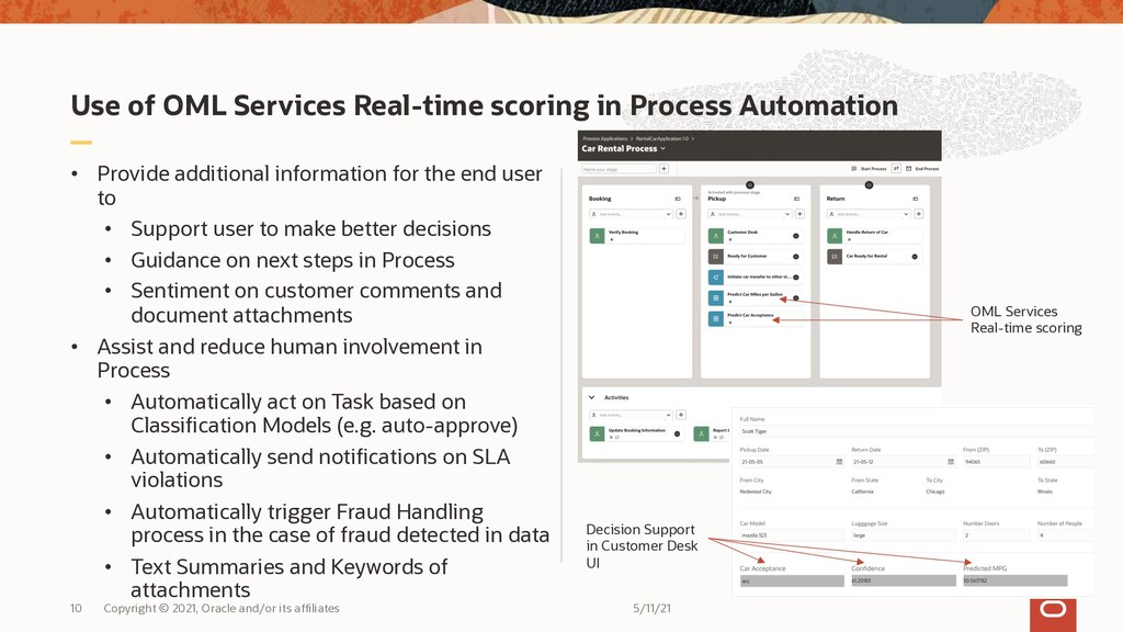 Use of OML Services Real-time scoring in Proces...