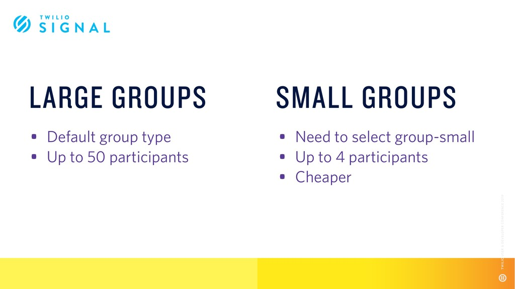 • Default group type • Up to 50 participants • ...