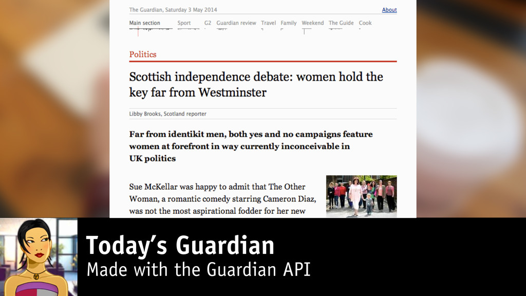 Today's Guardian Made with the Guardian API