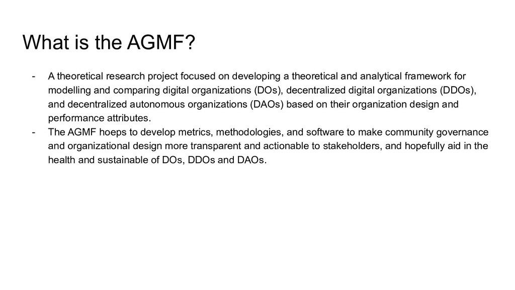 What is the AGMF? - A theoretical research proj...