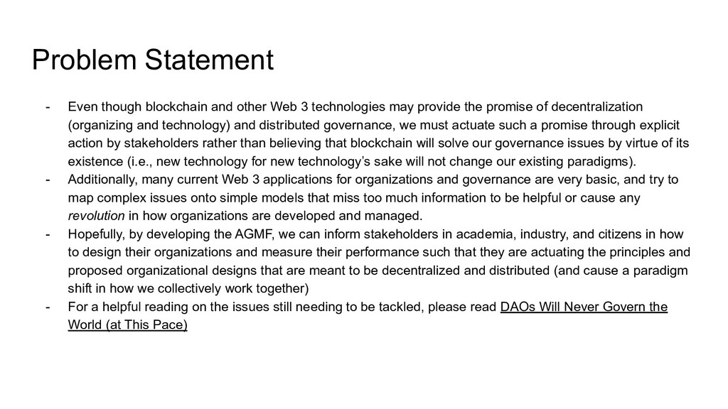 Problem Statement - Even though blockchain and ...