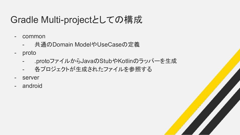Gradle Multi-projectとしての構成 - common - 共通のDomain...