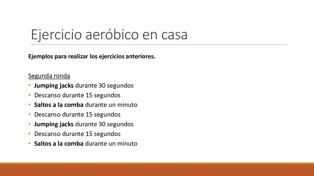 Ejercicio aeróbico en casa Ejemplos para realiz...