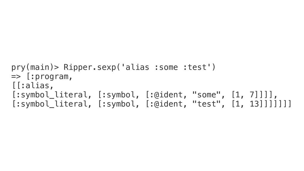 pry(main)> Ripper.sexp('alias :some :test') => ...