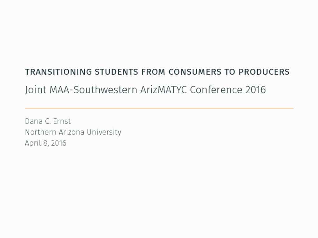 transitioning students from consumers to produc...