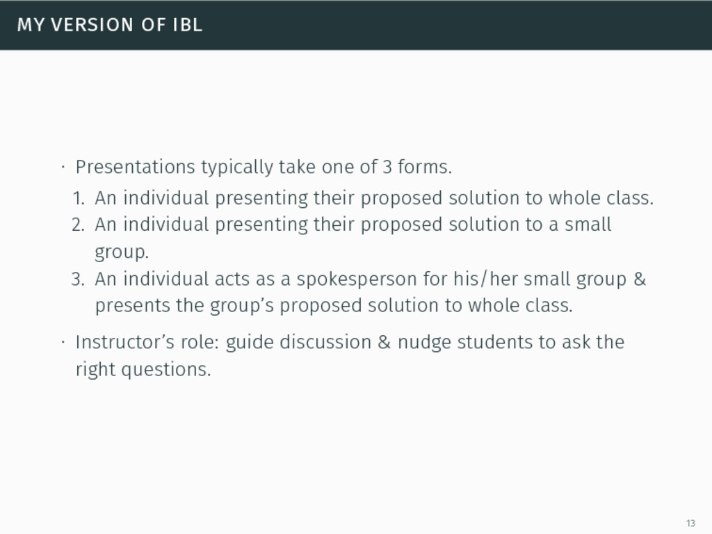 my version of ibl ∙ Presentations typically tak...
