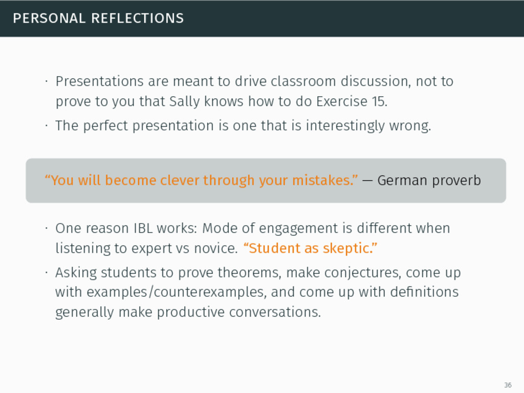 personal reflections ∙ Presentations are meant ...