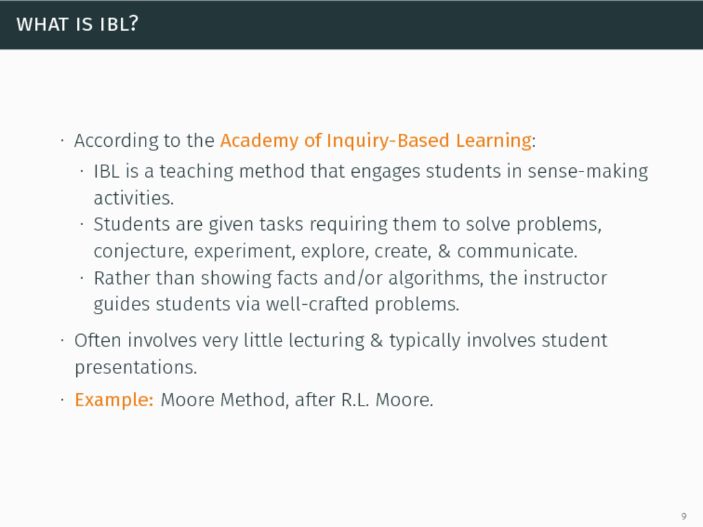what is ibl? ∙ According to the Academy of Inqu...