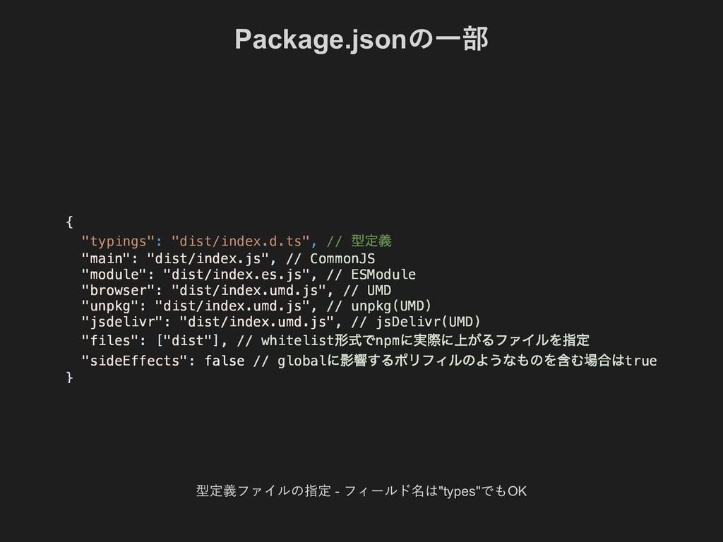 "Package.json の一部 型定義ファイルの指定  フィールド名は""types"" でも..."
