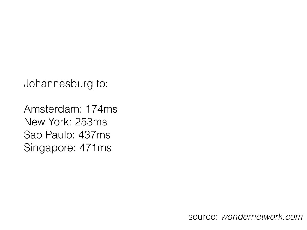 Johannesburg to: Amsterdam: 174ms