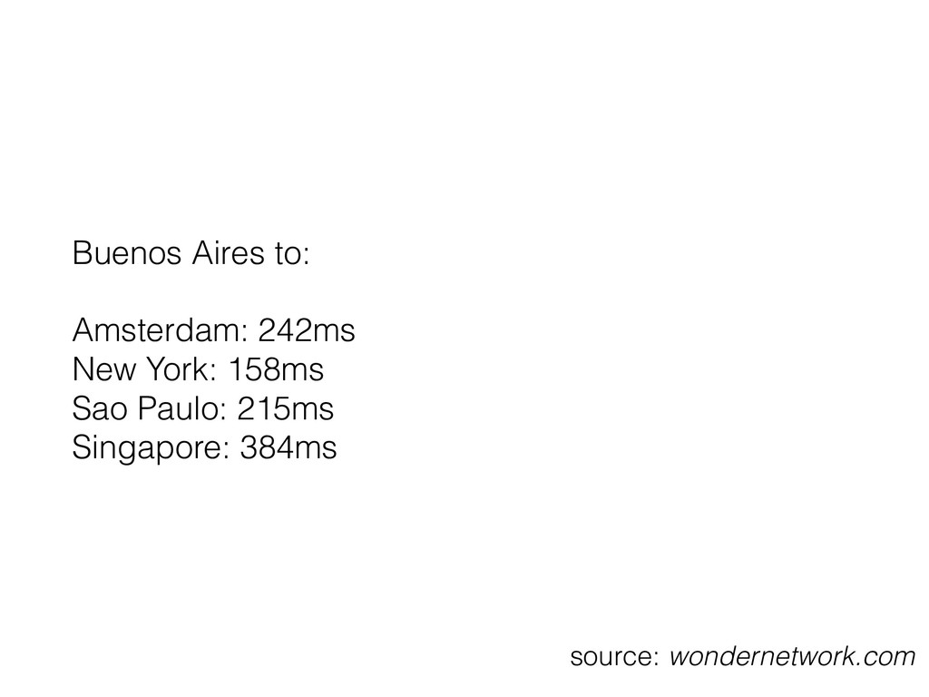 Buenos Aires to: Amsterdam: 242ms New York: 15...