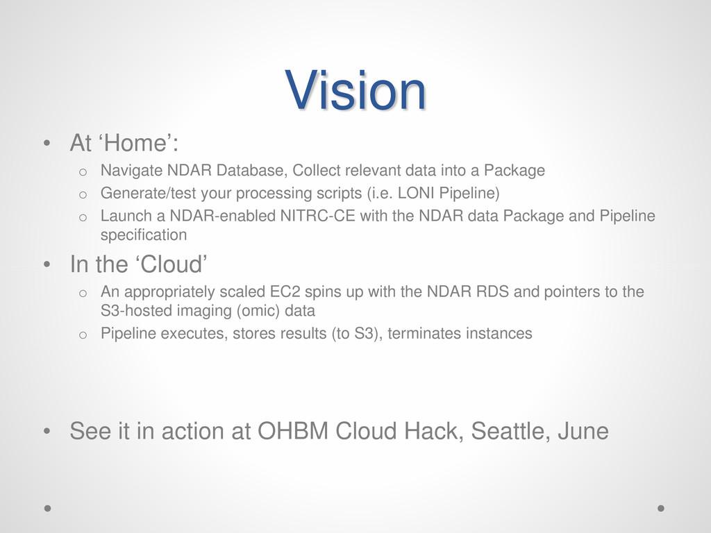 Vision • At 'Home': o Navigate NDAR Database, C...