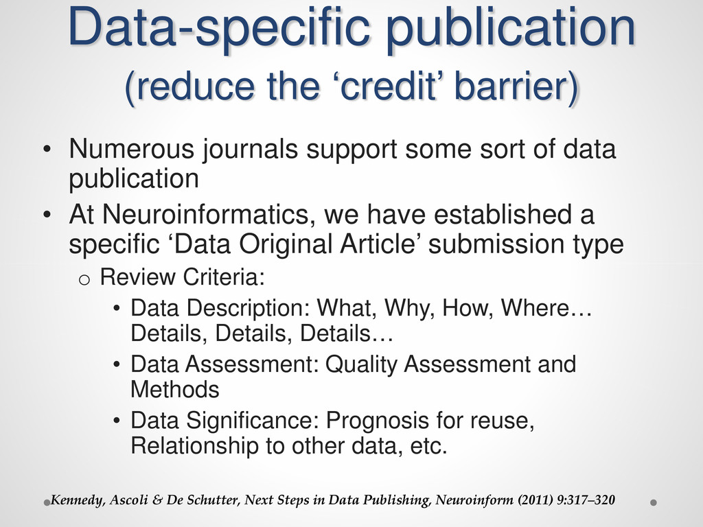 Data-specific publication (reduce the 'credit' ...